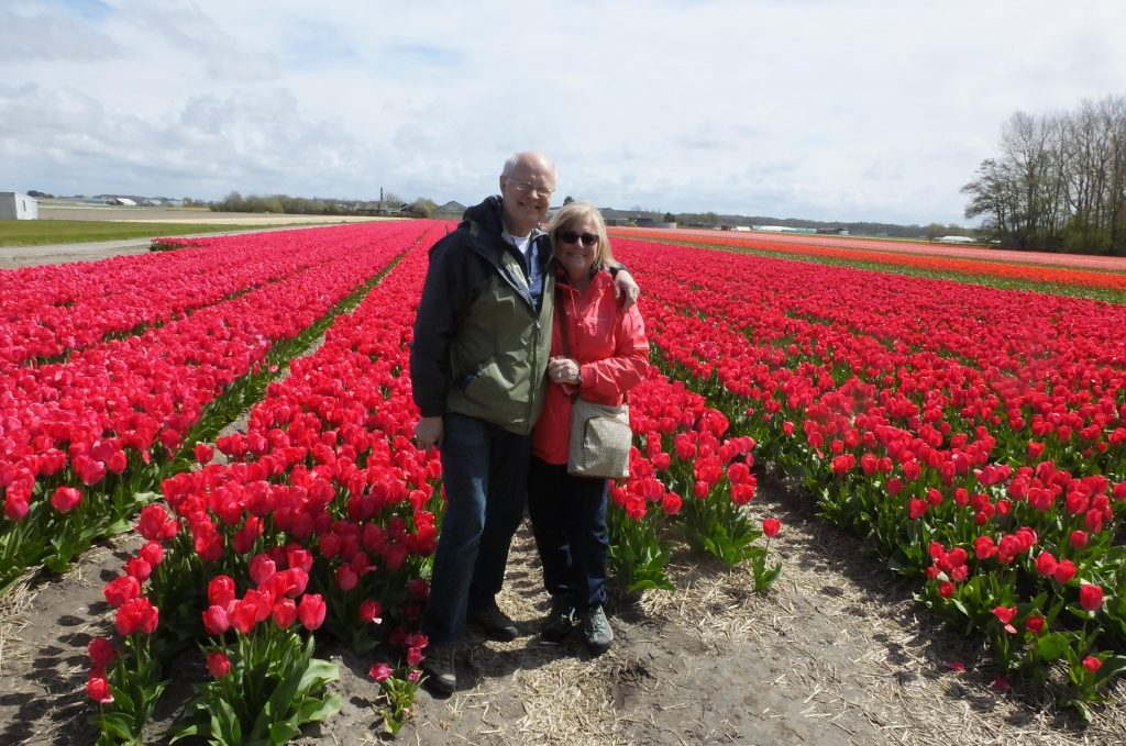 Dianne and Doug enjoying the tulips in Holland.